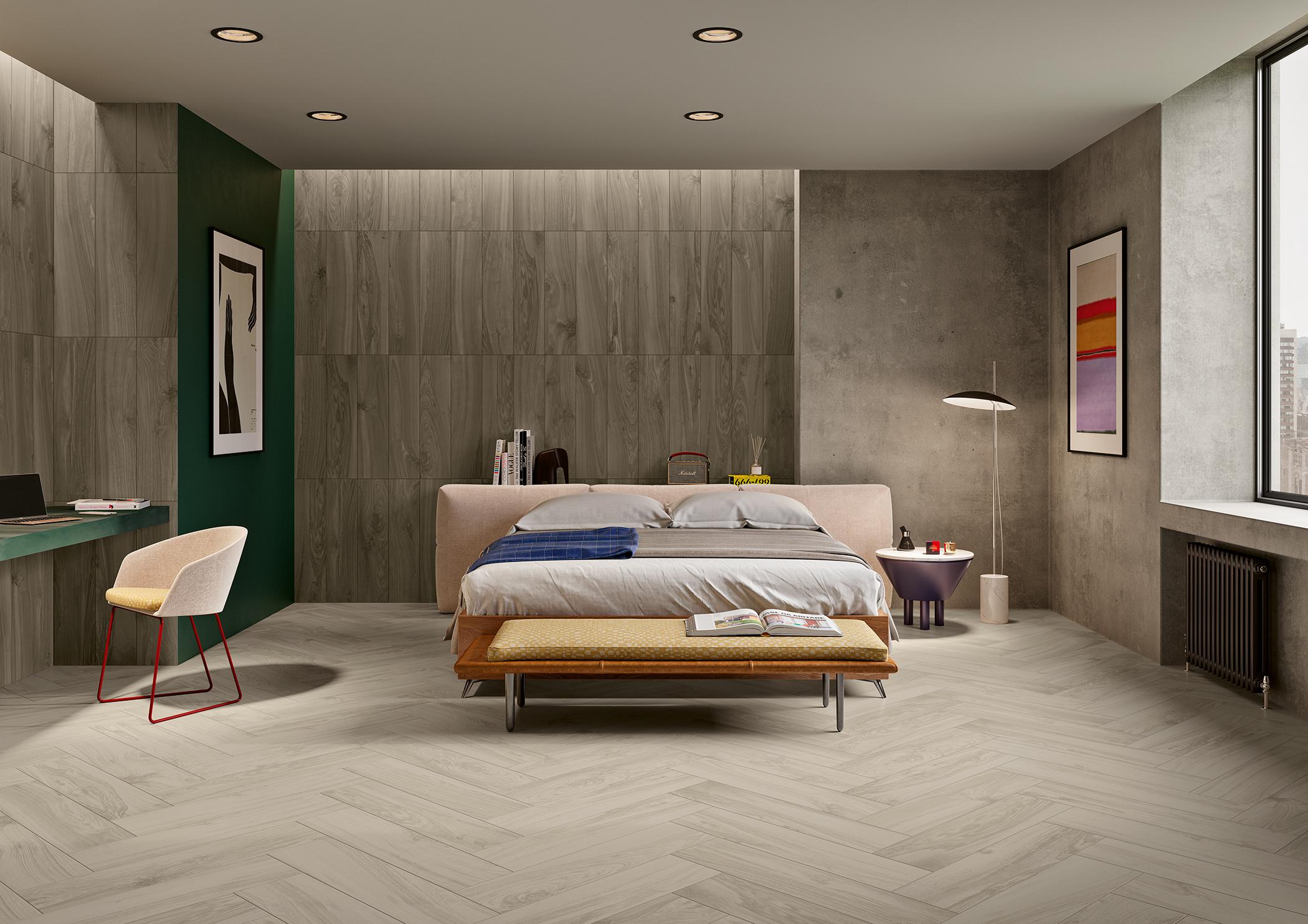 Ambiente de cozinha com pavimentos e revestimentos cerâmicos