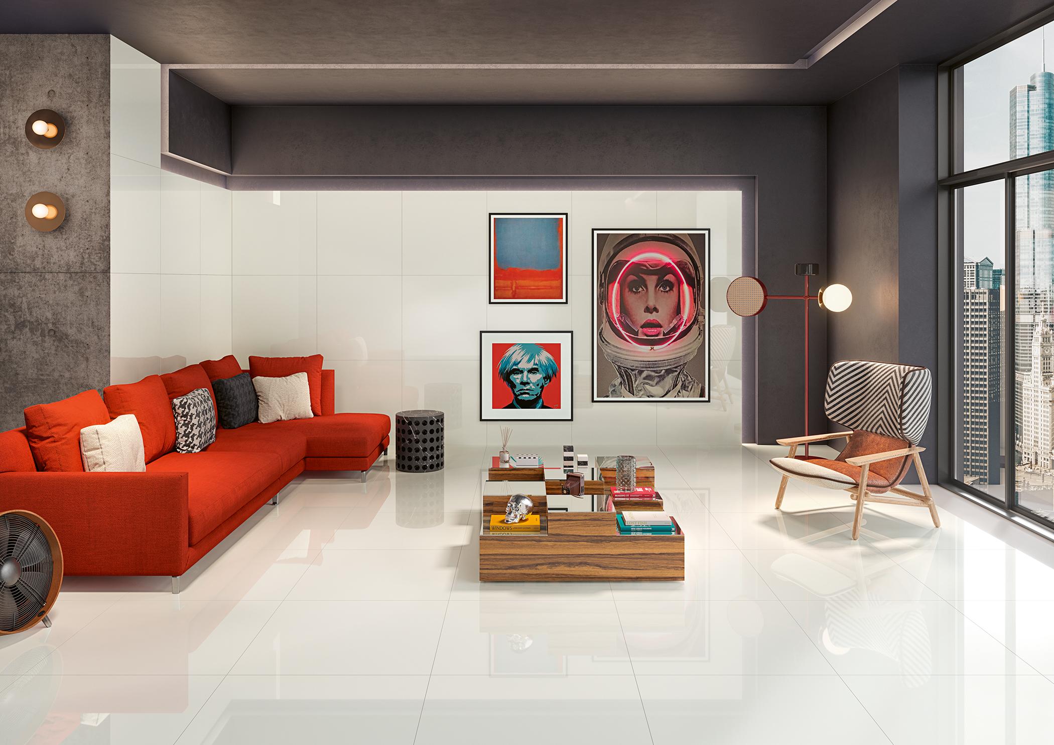 Ambiente com pavimentos e revestimentos cerâmicos | Calacata