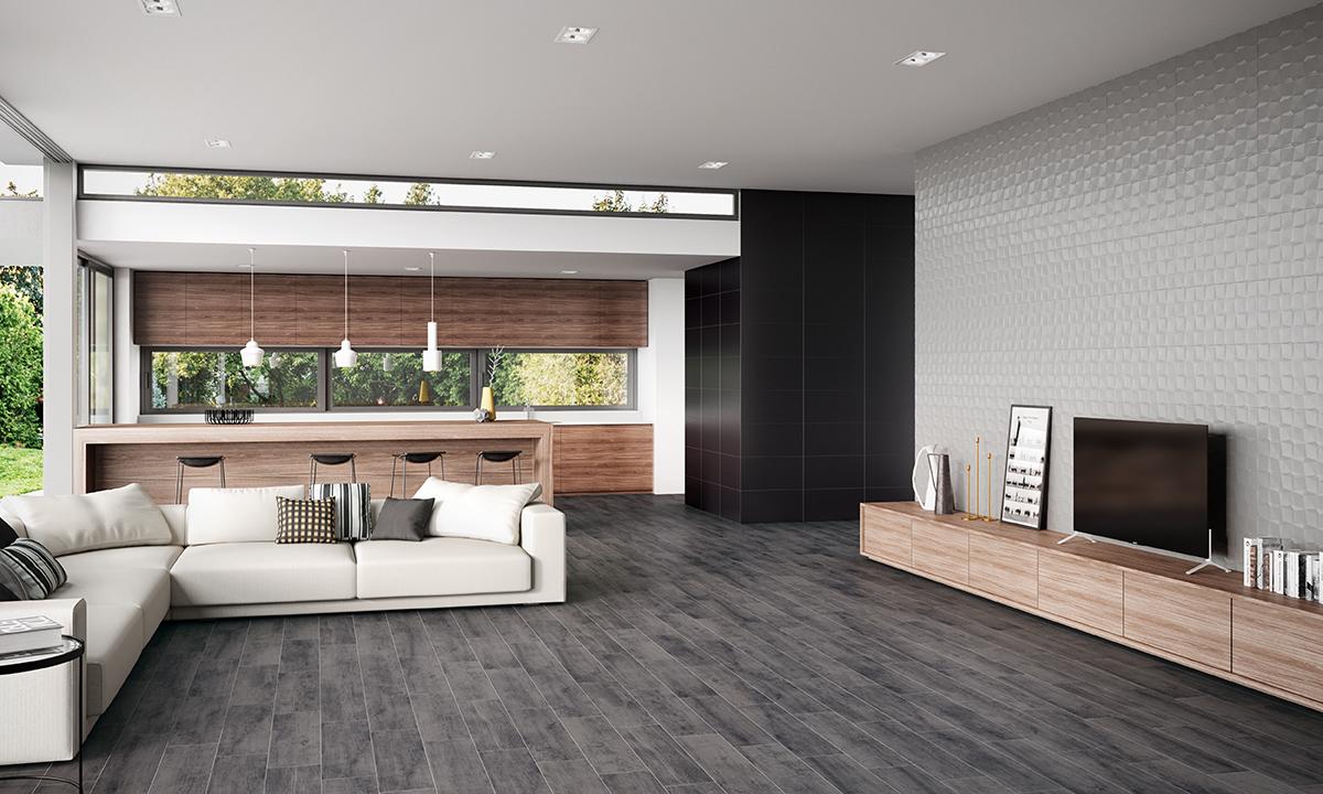 Pavimento escuro com moveis retos na decoração de interiores