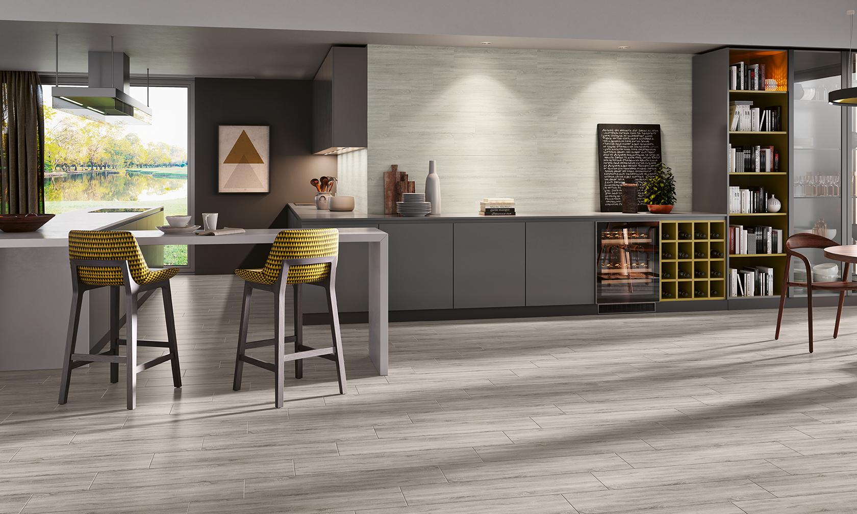 Decoração de interiores moderna com pavimentos cinza